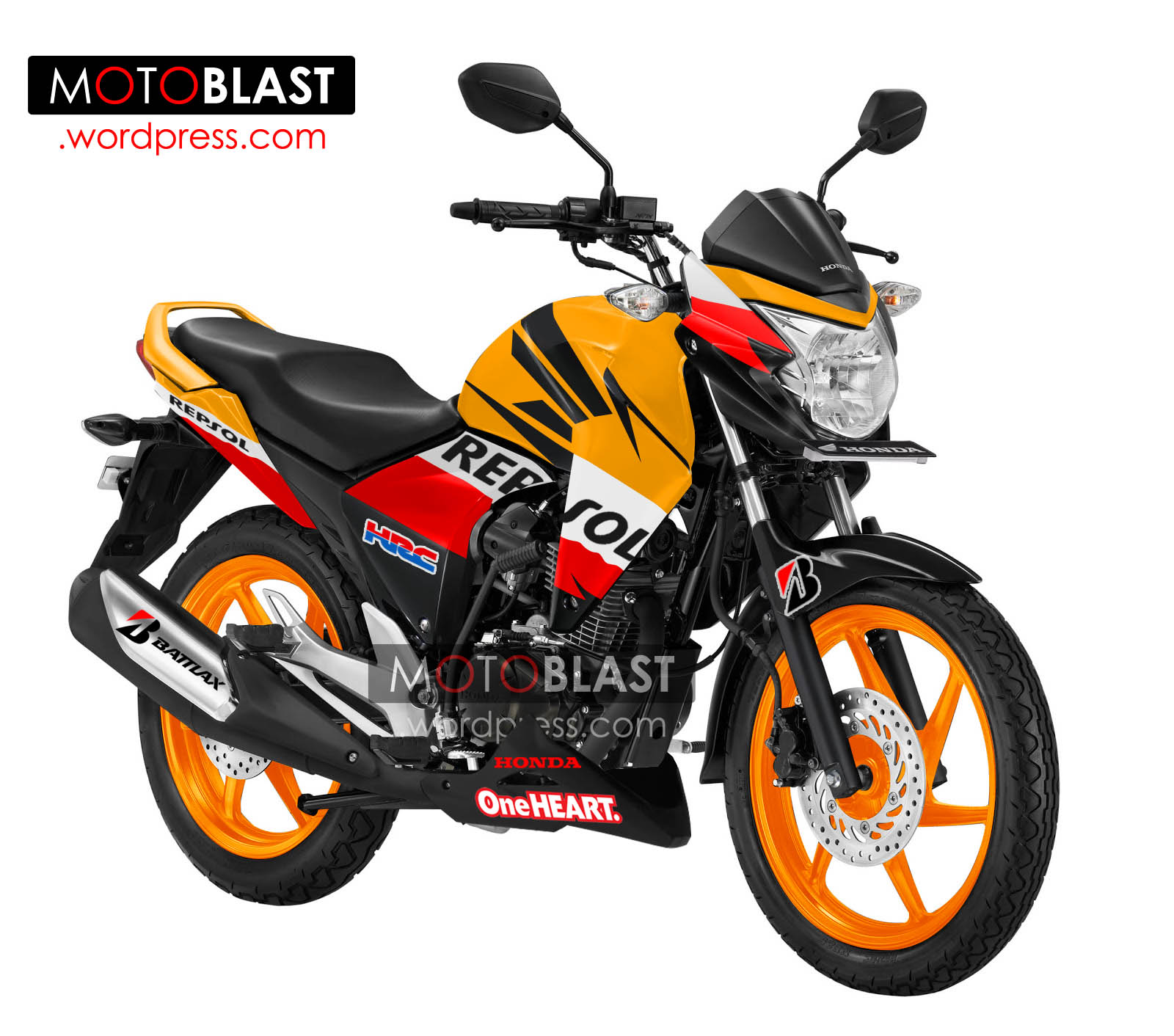 Modifikasi Striping Honda Mega Pro Versi Repsol Edition Alternatif