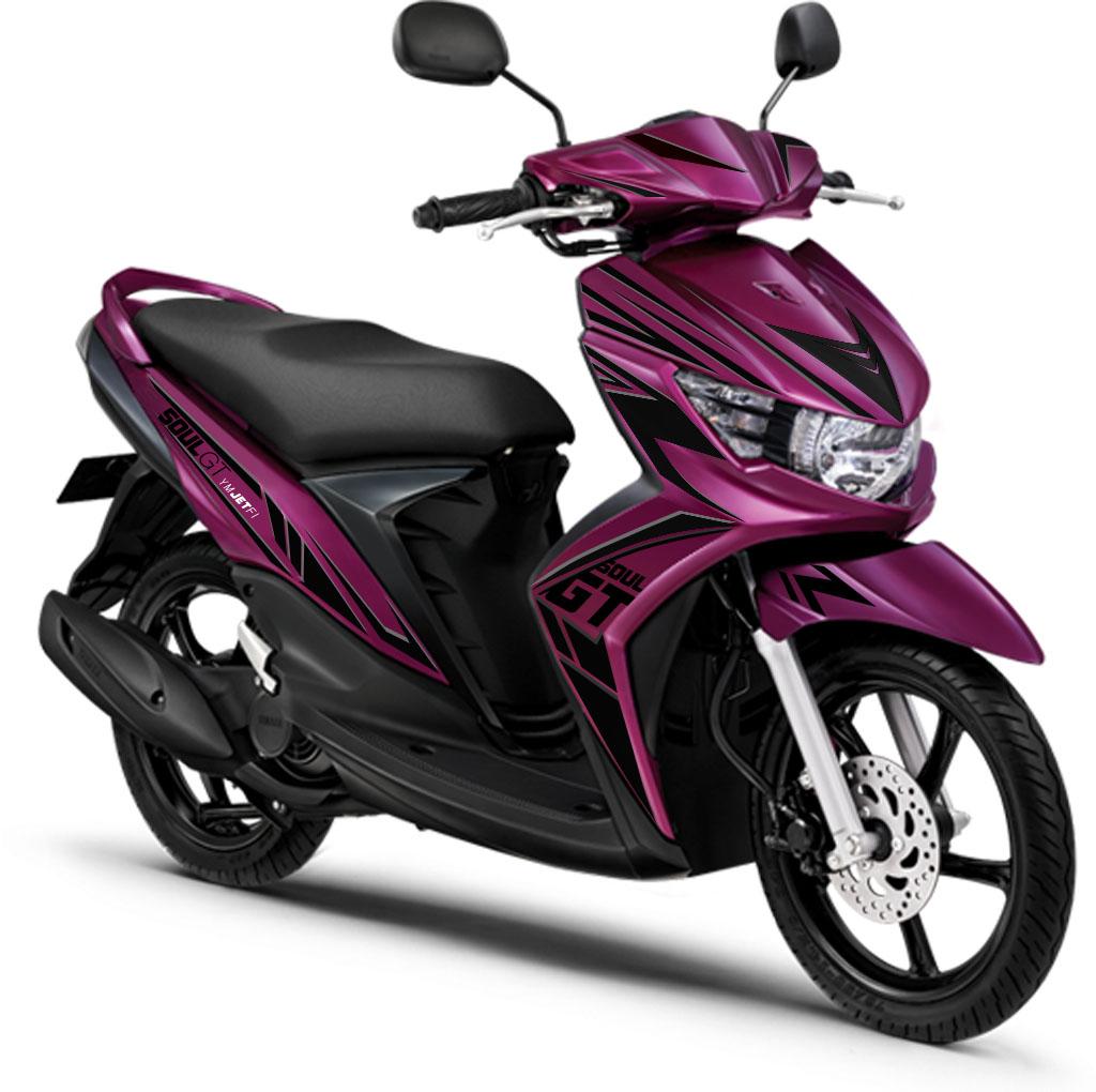Modif Striping Mio Soul GT 2013 Warna Purple Striping Asik Biaya