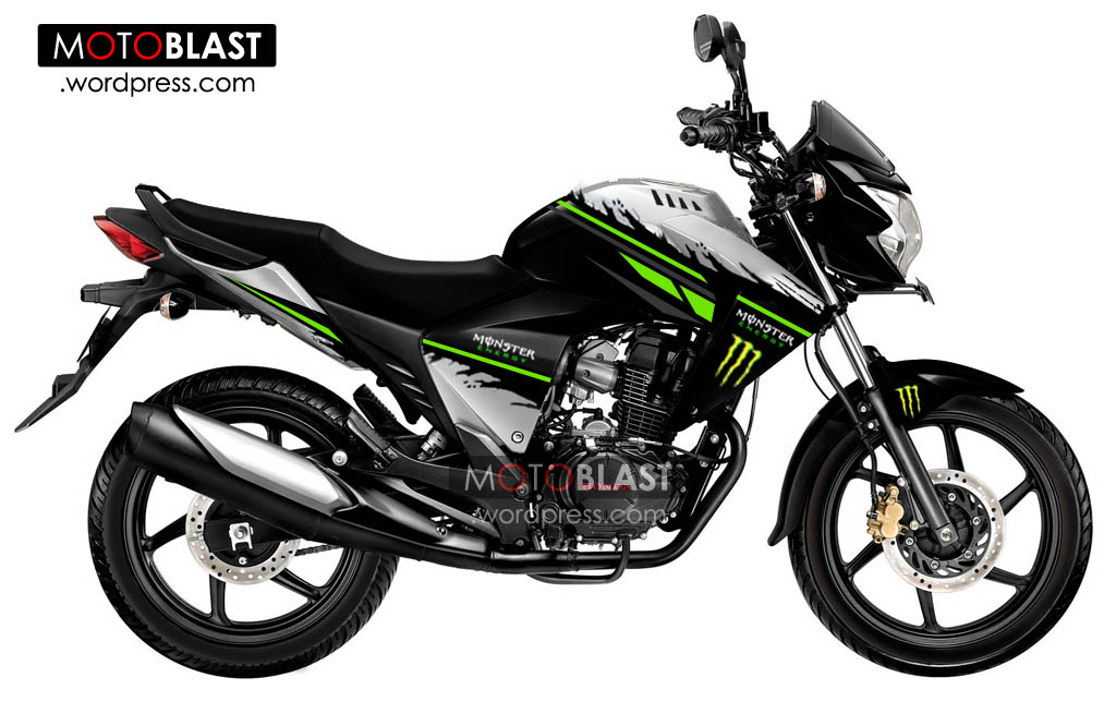 Modif Honda New Mega Pro striping Monster Energy!!