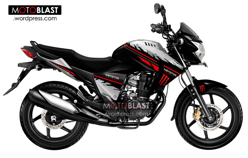 Modif Honda New Mega Pro striping Monster Energy!!