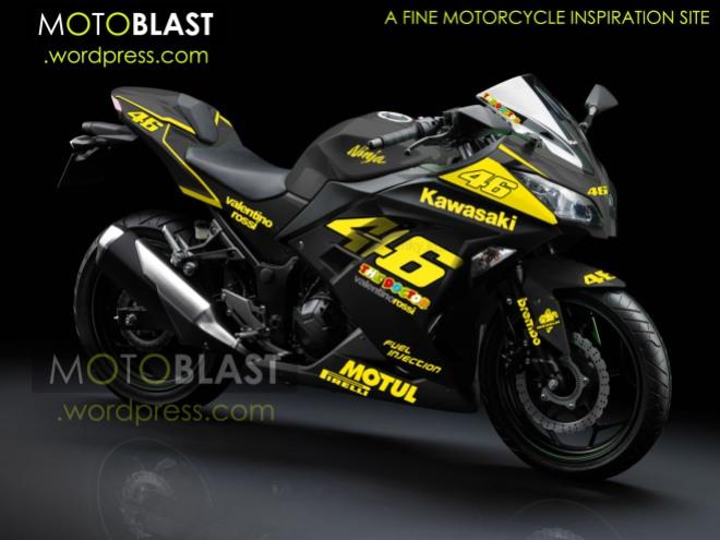 modif striping kawasaki ninja 250r FI black-valentino-rossi style