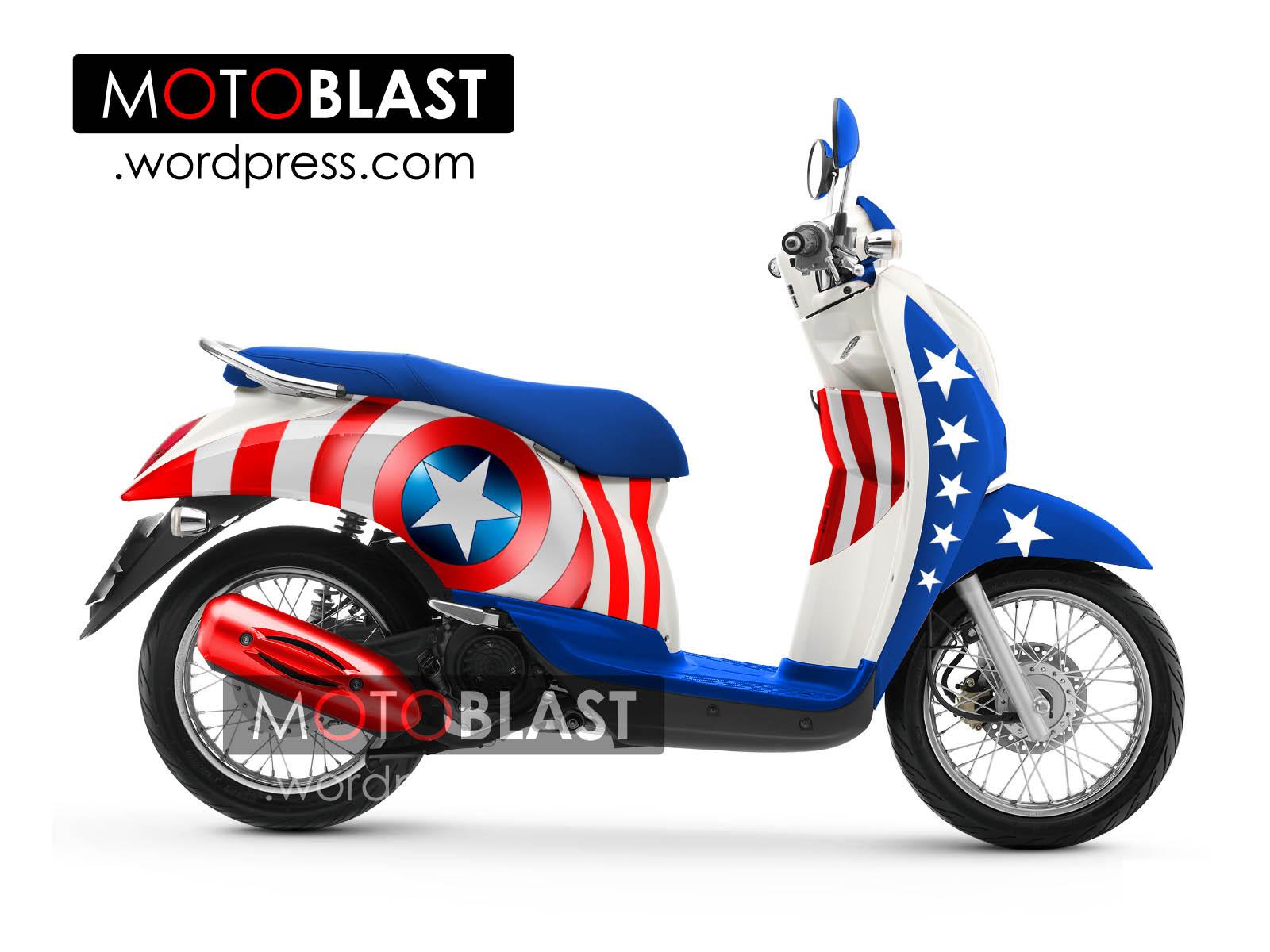 Koleksi modifikasi body motor scoopy terkeren modif striping honda scoopy captain america motoblast