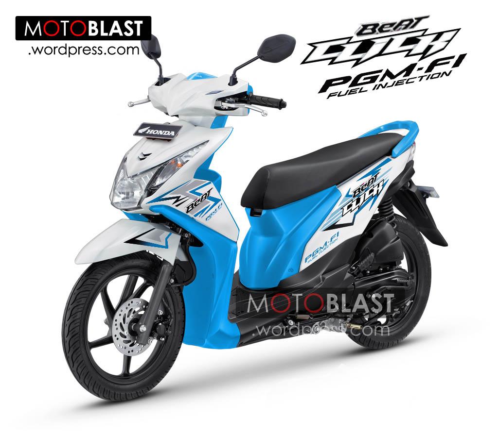 Modifikasi motor beat biru putih 2016