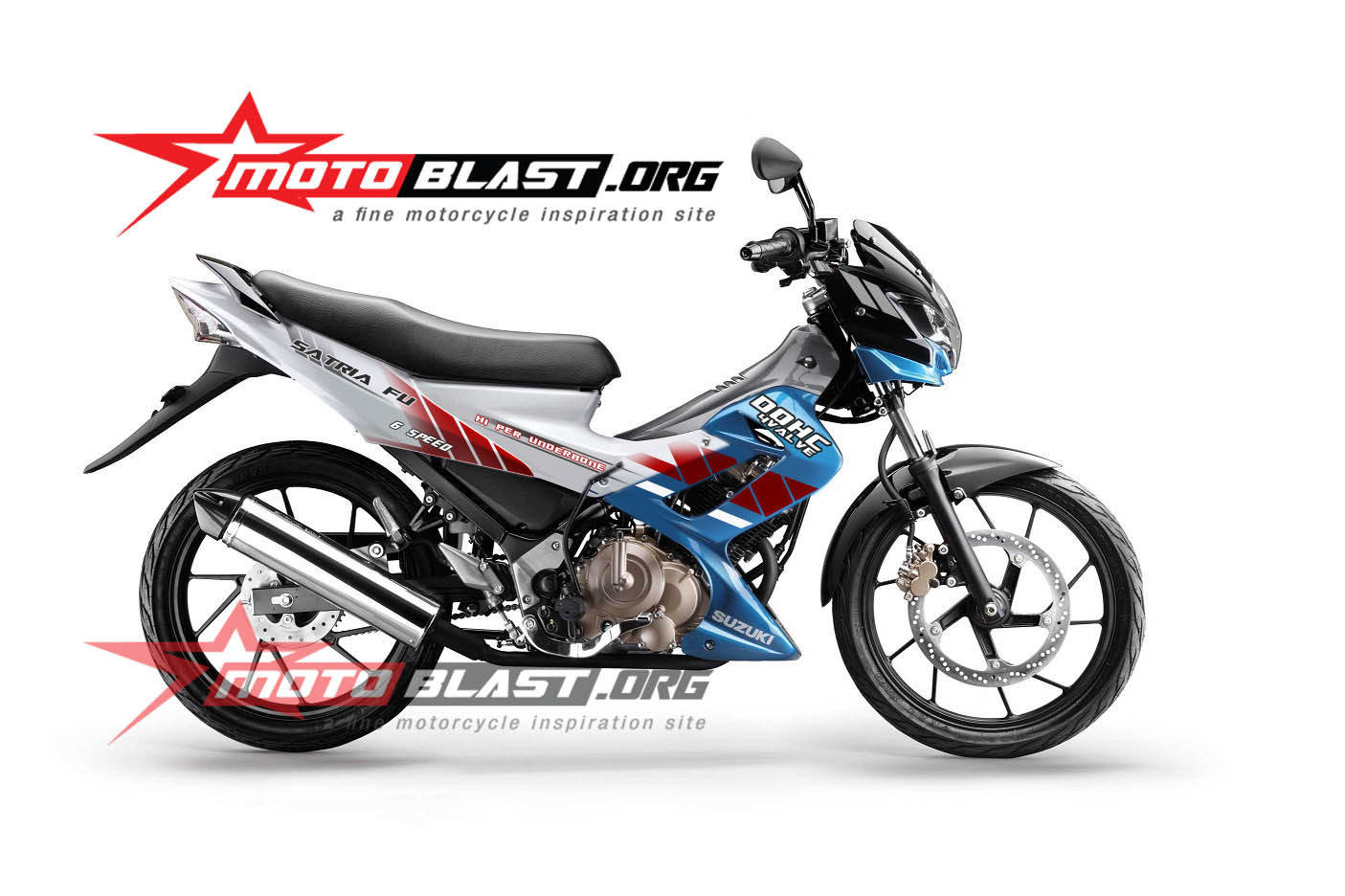 Modif Striping Suzuki Satria FU Blue White 2014