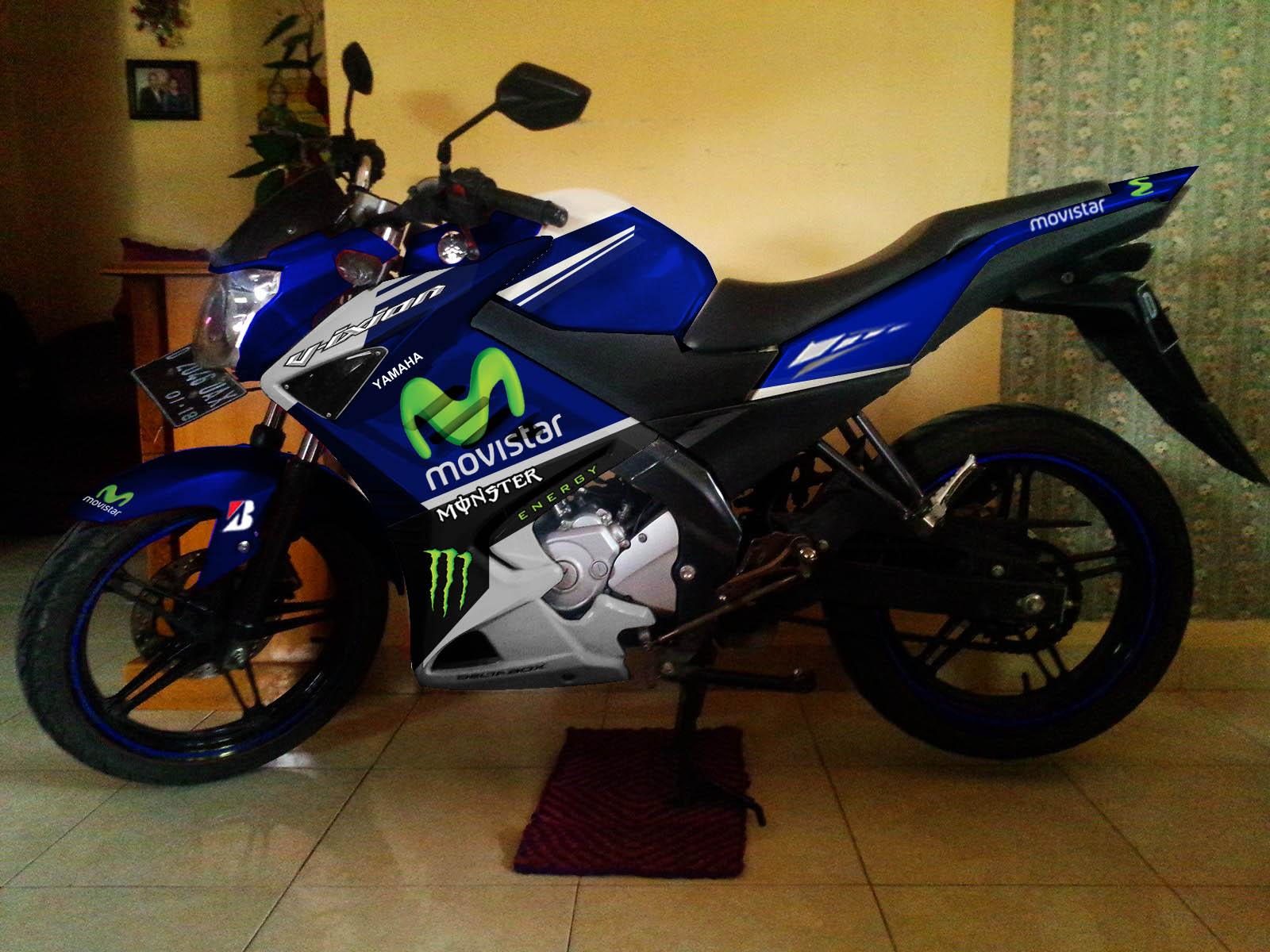 Modif Striping Yamaha new Vixion Half fairing Movistar Yamaha Motogp ...