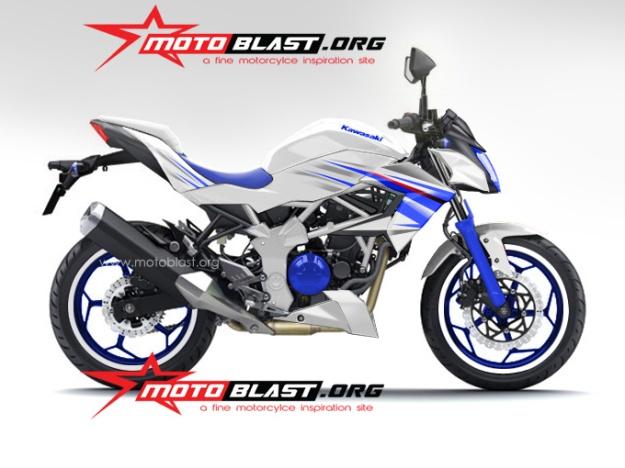 ninja 250 RR mono naked- white blue finish-4