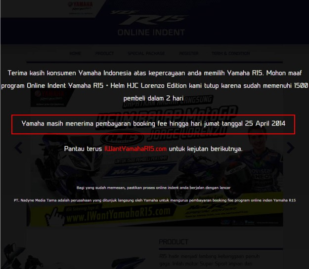 pembayaran booking fee indent online  yamaha r15