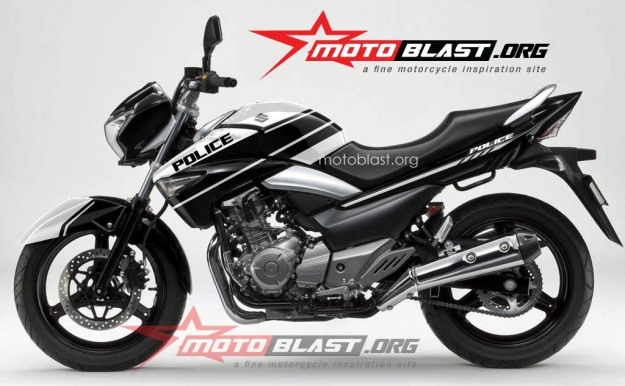 modif striping Suzuki Inazuma 250 - black-POLICE2