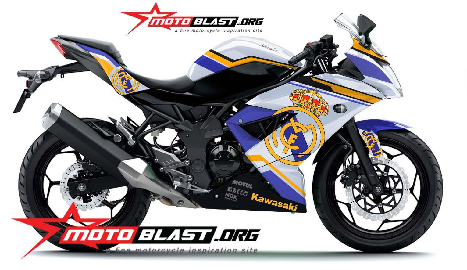Modif Striping Kawasaki Ninja RR Mono white – Real Madrid