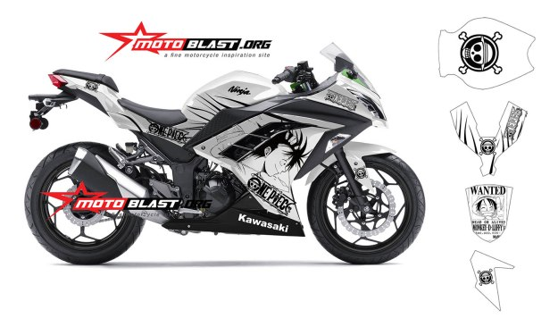 Modif striping kawasaki Ninja 250R FI white