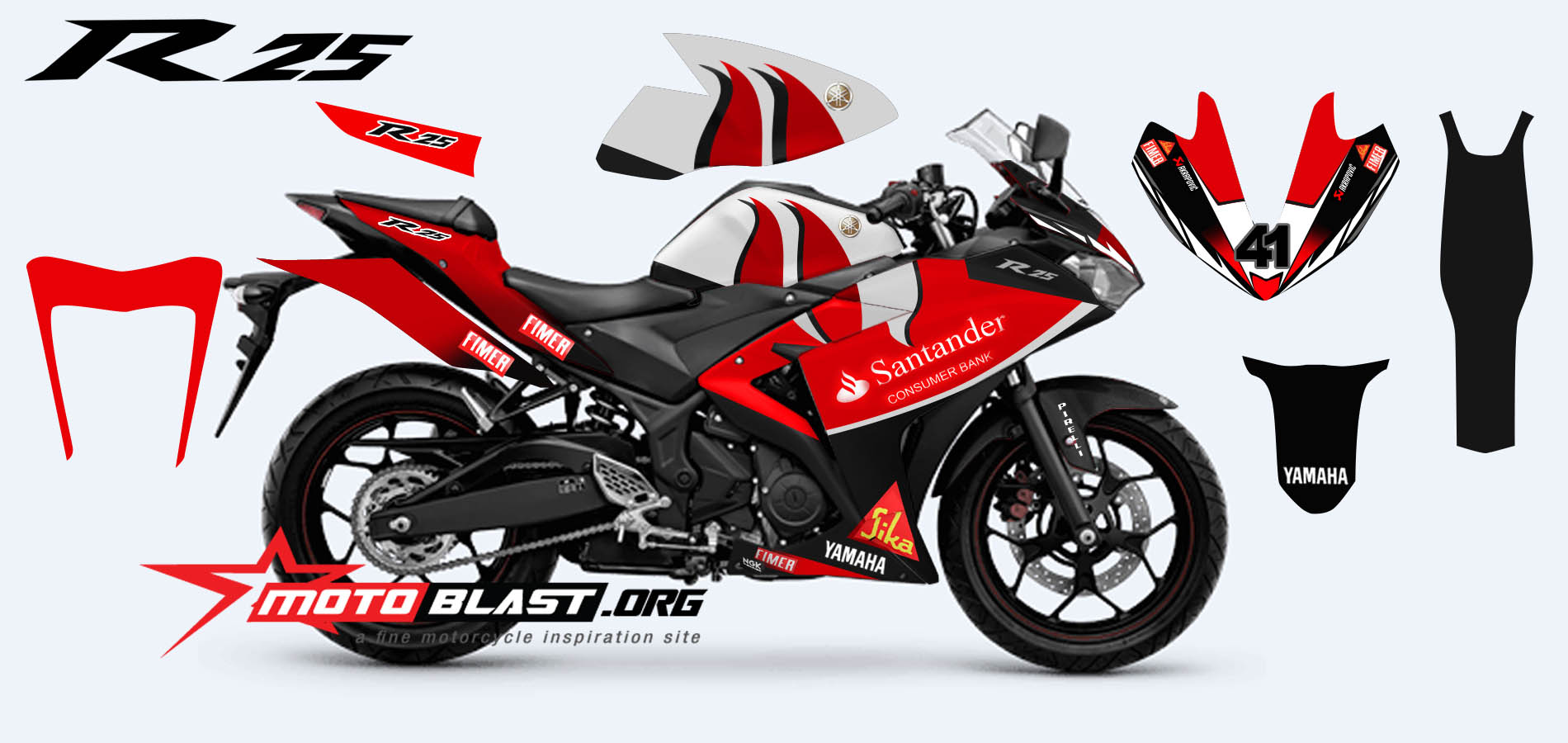 Modif Striping yamaha R25 Red - Santander Superbike