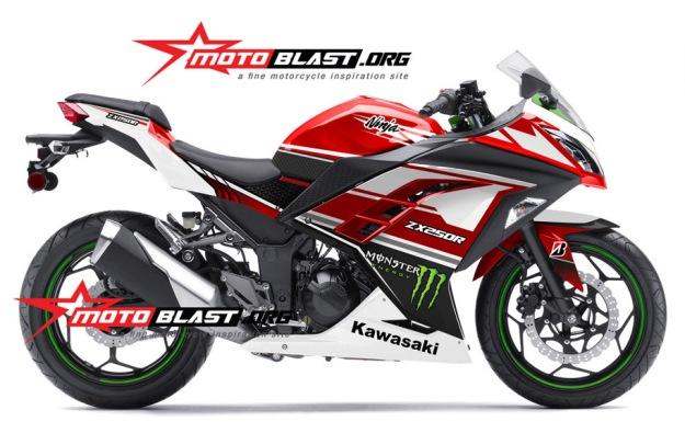 Modif Striping Kawasaki Ninja 250R FI Merah terbaru Motoblast