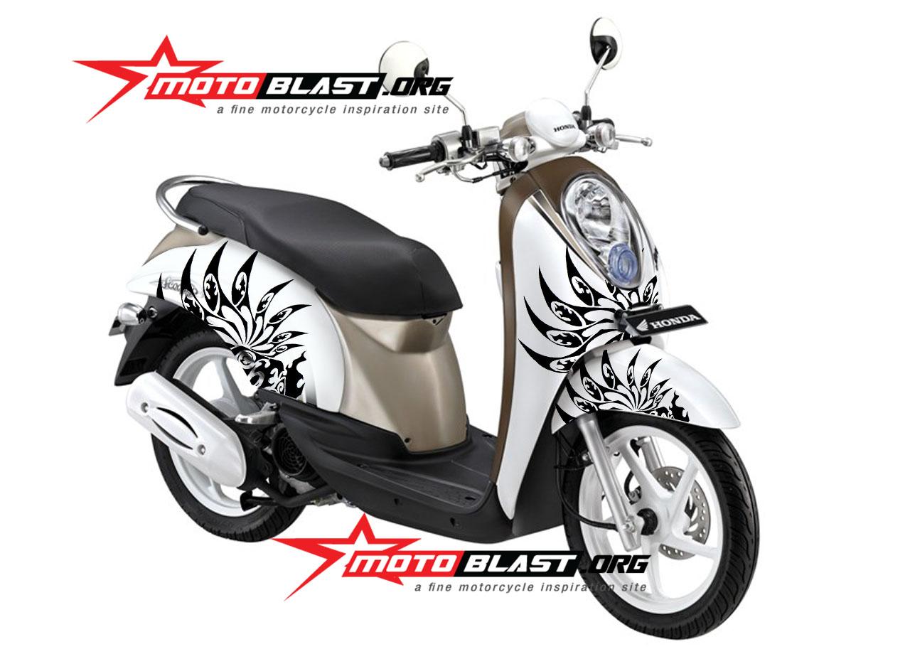 modif striping honda scoopy white tribal mania motoblast
