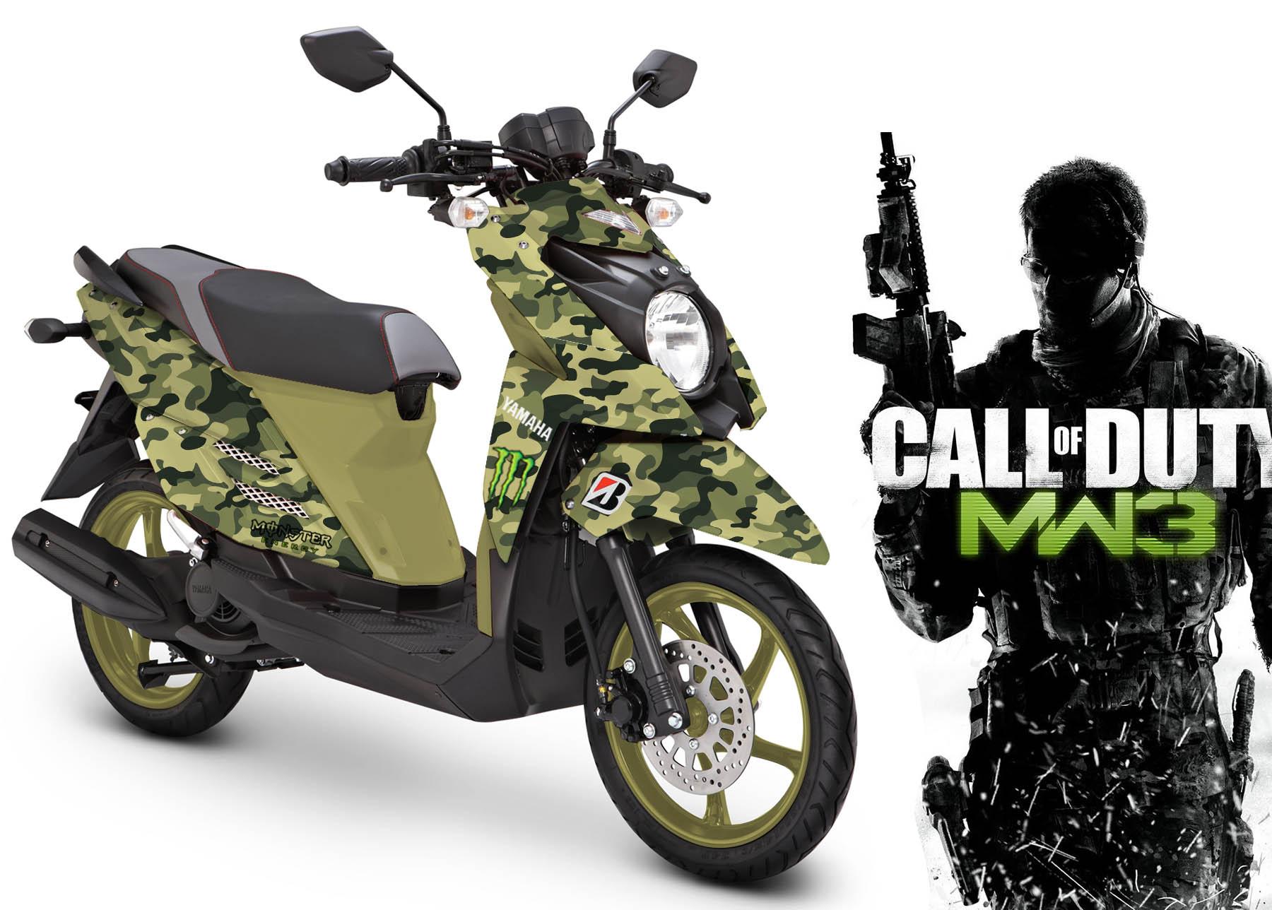 Modif Striping Yamaha X Ride Green Army MOTOBLAST