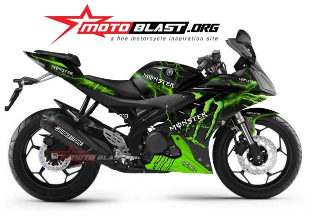 Motoblast Bentuk Lengkap Striping Yamaha R15 Black