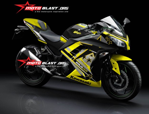 Modif Striping Kawasaki Ninja 250r Fi Black Yellow Star Motoblast