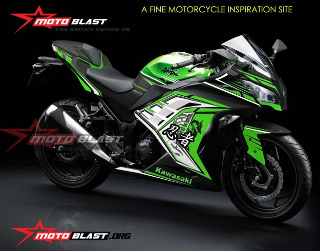 NINJA 250R FI GREEN-WHITE - NEW2