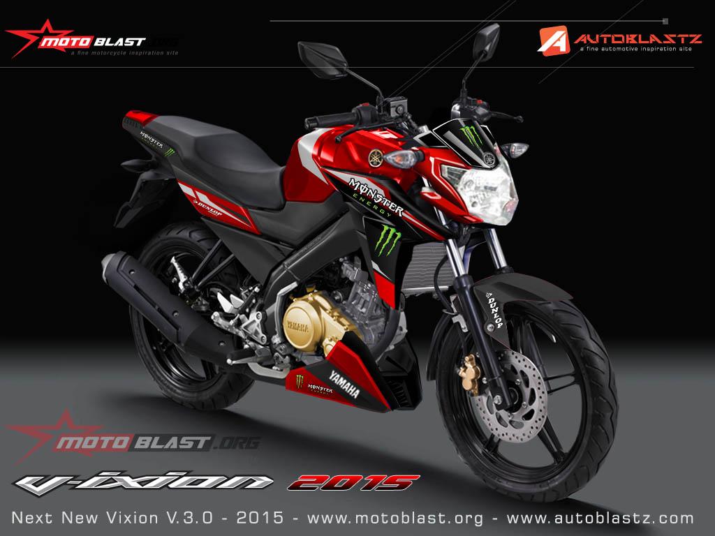 Modif Striping Yamaha Vixion Advance Monster RacingBLUE And RED