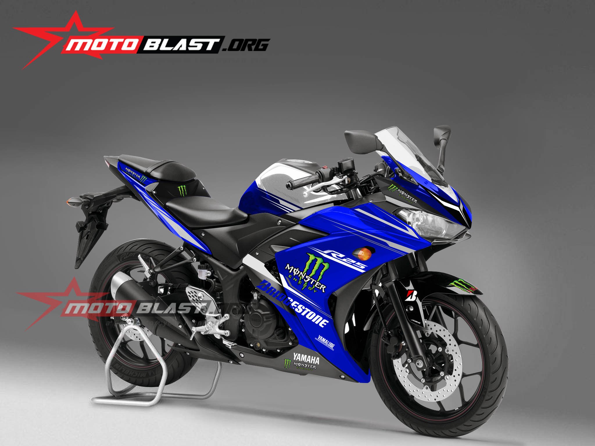 modif striping yamaha  blue monster  motoblast