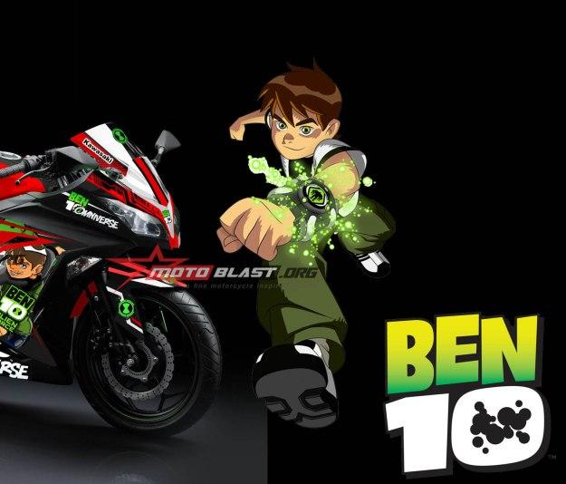 2 - NINJA 250R FI BLACK - BEN 10 - MOTOBLAST-FRONT