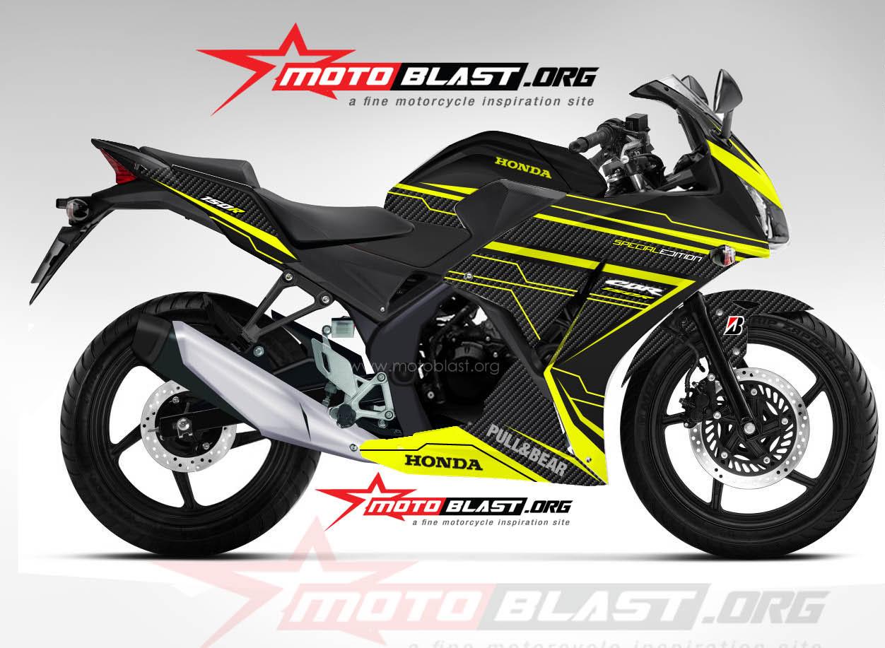 Modif Striping Honda CBR150R Lokal Black Yellow techno super carbon ...