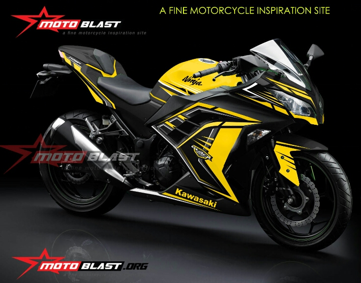 Grafis Inspirasi Kawasaki Ninja 250r Fi Black Edition Super Yellow