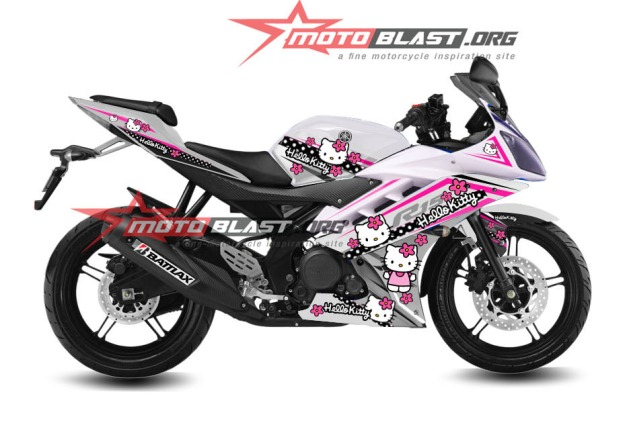 modifikasi striping yamaha R15 Hello Kitty
