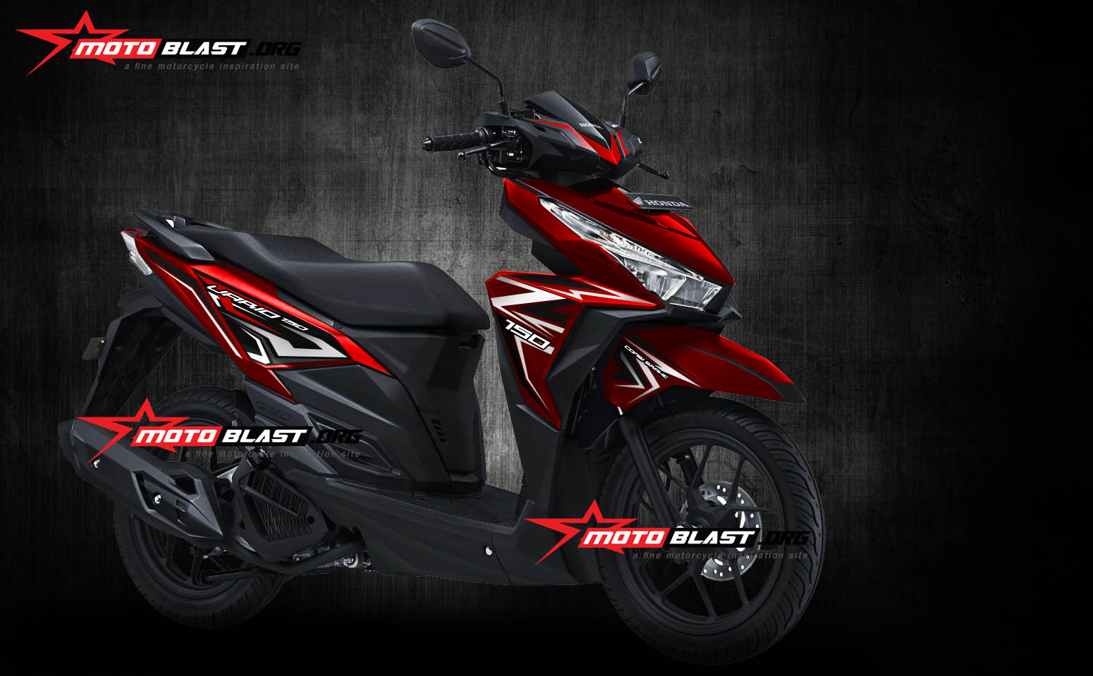 Grafis Inspirasi Honda Vario 150 ESP Red New Strip Carbon Monyor