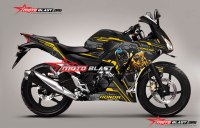 Modifikasi Striping Honda CBR150R Lokal Black Bumble bee