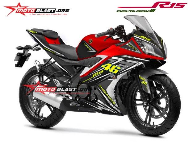 Modifikasi Striping Yamaha R15 RED FORZAVALE 46 White New