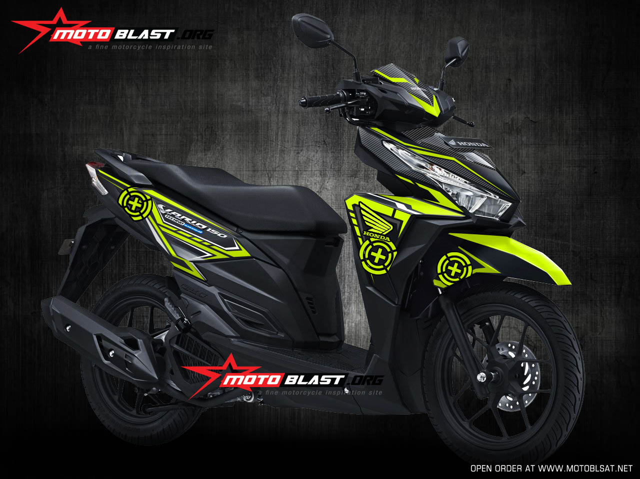 Modifikasi honda vario 150 black green lemon speedmaster motoblast