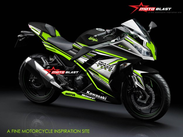 1- NINJA 250R FI BLACK-SUPER GREEN