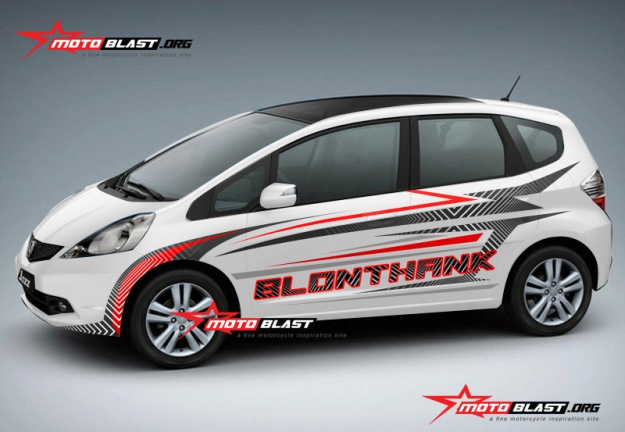 Modifikasi jazz white stiker blonthank