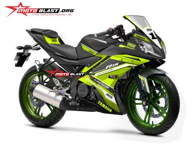 modifikasi motor yamaha R15 black stiker desain stabilo