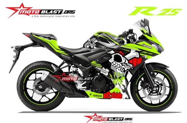 modifikasi yamaha R25-BLACK-SKULL-GREEN LEMON-MOTOBLAST