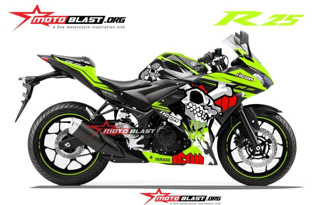 modifikasi yamaha R25-BLACK-SKULL-GREEN LEMON-MOTOBLAST