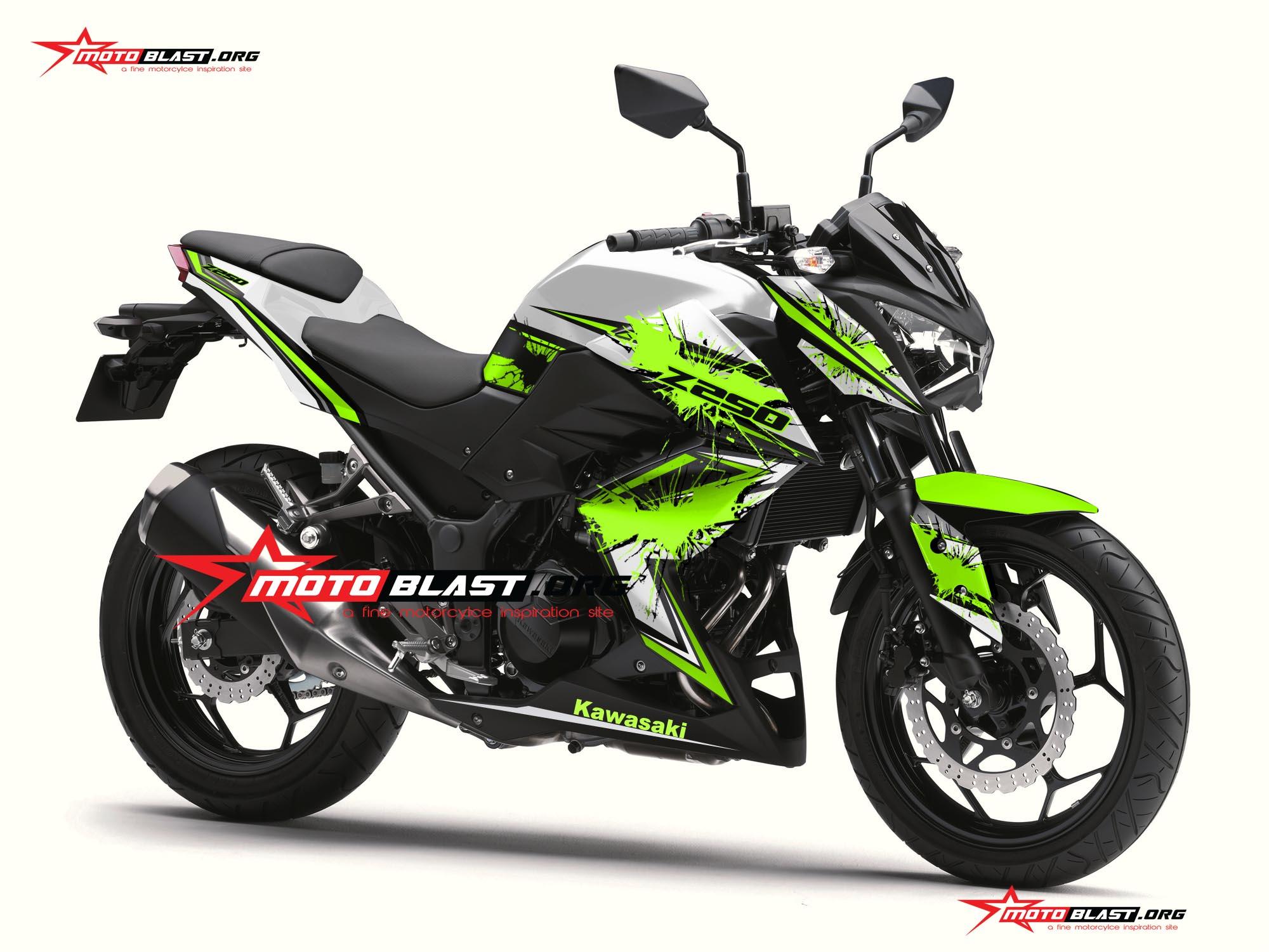 Modifikasi Kawasaki Z250R White Green Stabilo Batman ...